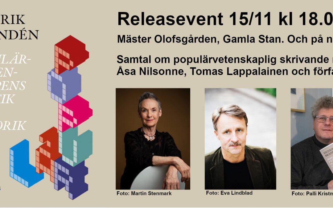 """Release-event för """"Populärvetenskapens poetik och retorik"""" 15/11"""